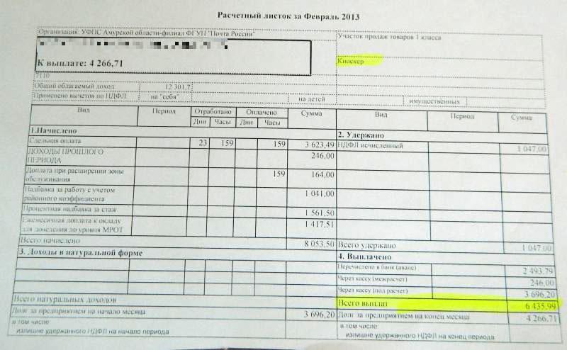 квиток о зарплате образец