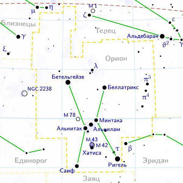 Схема созвездия Орион отсюда