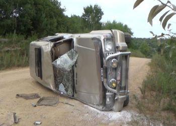 Внедорожник Mitsubishi Pajero несколько раз перевернулся на дороге возле Верхнеблаговещенского